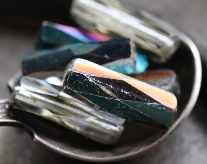 SILVER IRIS SPARKLES No. 2 .. 6 Premium Fire Polished Czech Glass Tube Beads 16x6mm (6922-6)
