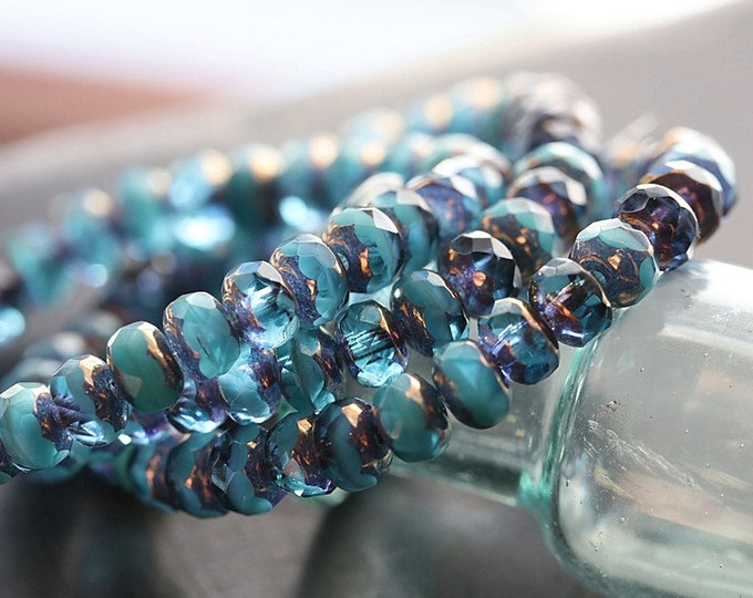 BRONZED BEACH WAVES .. New 30 Premium Czech Glass Faceted Rondelle Beads 3x5mm (8626-st)