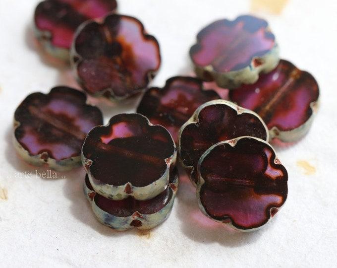 PURPLE PLUM BLOOMS .. New 10 Premium Picasso Czech Glass Flower Beads 10mm (8136-10)