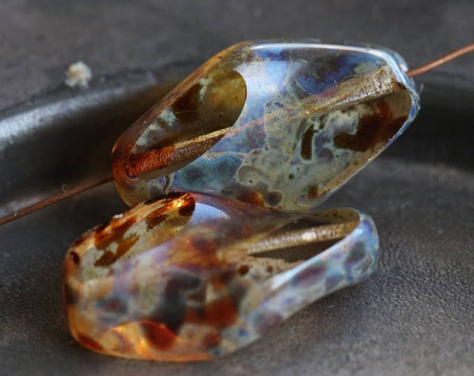 last ones .. AMBER PICASSO TWISTS .. 2 Premium Picasso Czech Glass Beads 22x14mm (6197-2)