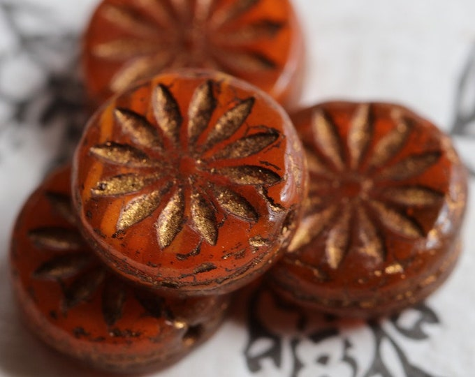 BRONZED ORANGE ASTER .. 4 Premium Picasso Czech Glass Flower Coin Beads 12mm (7054-4)