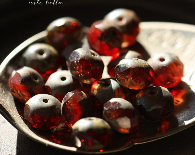 sale .. STRAWBERRY JAM .. 10 Premium Picasso Czech Glass Faceted Rondelle Beads 6x8mm (180-10)