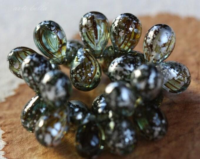 SILVERED ZEBRA TEARS .. 25 Premium Picasso Czech Glass Drop Beads 6x9mm (3715-st)