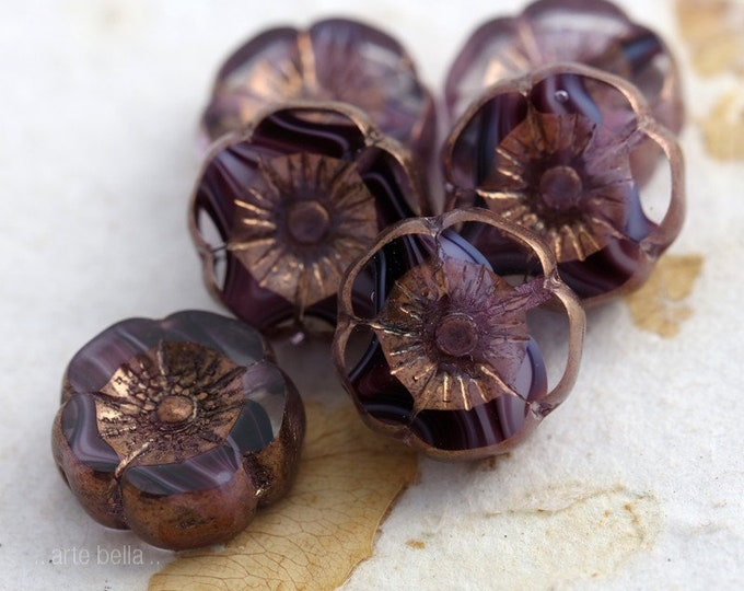 GILDED GRAPE PANSY .. 6 Premium Picasso Czech Glass Hibiscus Beads 12mm (5476-6)