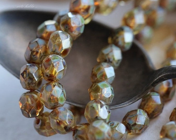 MOTTLED .. 25 Premium Picasso Czech Faceted Round Glass Beads 6mm (5038-st)