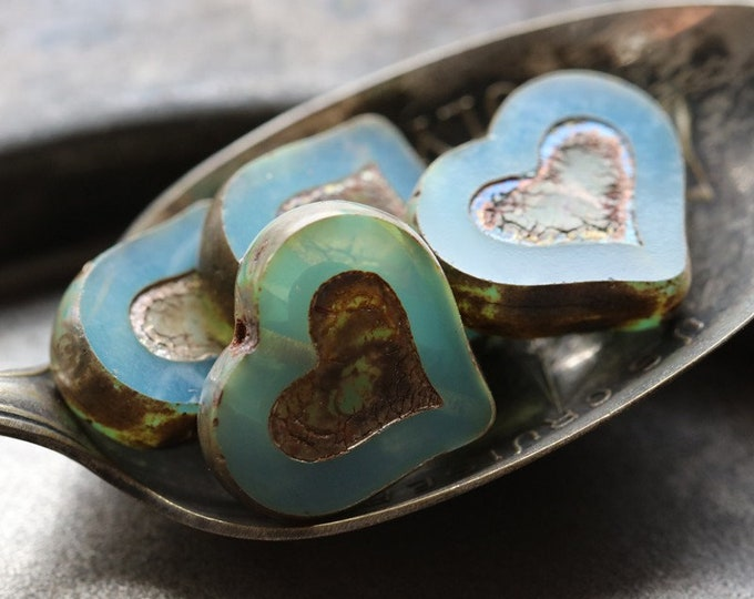 BLUE OPAL THUMPER No. 1 .. New 4 Premium Picasso Czech Glass Heart Beads 14x12mm (7270-4)