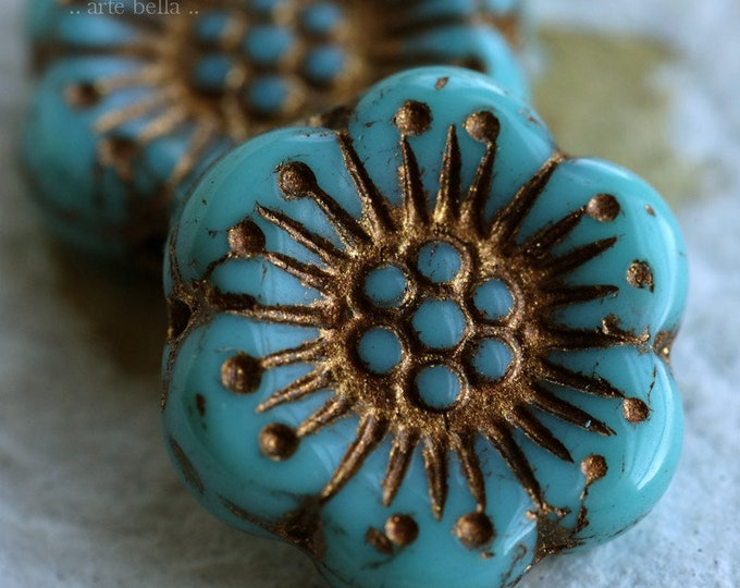 BRONZED TURQUOISE ROSES .. 2 Premium Picasso Czech Glass Wild Rose Beads 18mm (6859-2)