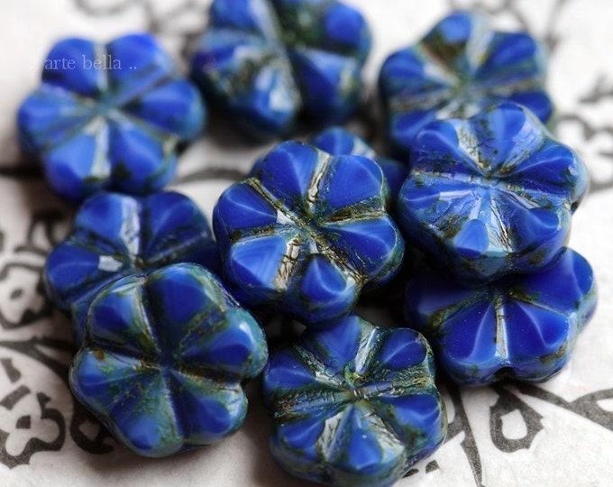 BLUE SILK BLOOMS No. 2 .. 10 Premium Picasso Czech Glass Flower Beads 10x3mm (7011-10)