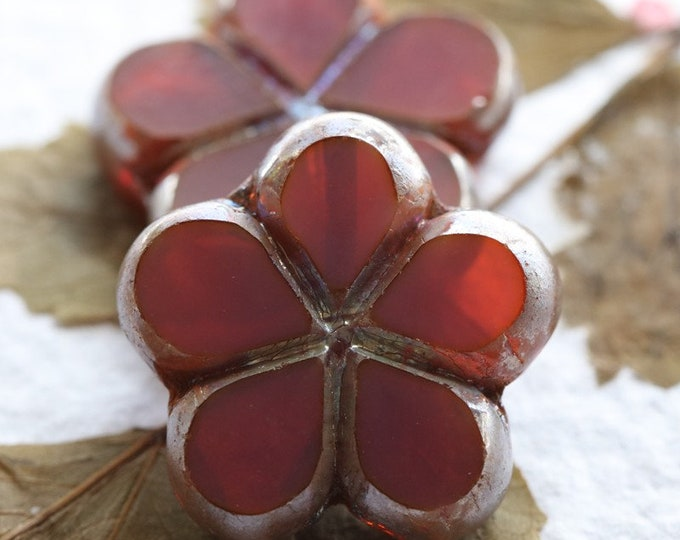MYSTIC PINK MELON Posies .. New 2 Premium Picasso Czech Glass Flower Beads 17mm (7979-2)