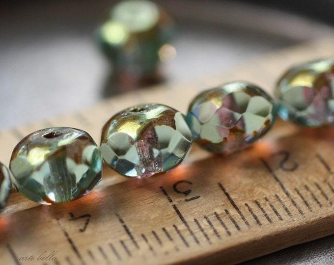 GOLDEN POND .. 10 Premium Picasso Czech Glass Rondelle Beads 6x8mm (2139-10)