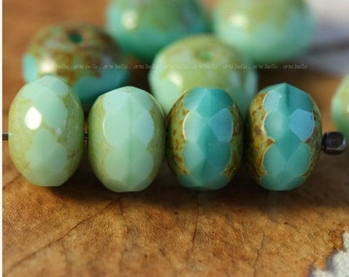 last ones .. TURQUOISE MINT MIX ..10 Premium Picasso Czech Glass Rondelle Beads 6x8mm (4105-10)