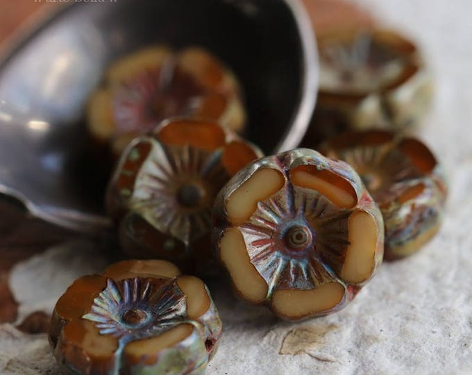 CHAI PANSY .. 6 Premium Picasso Czech Glass Flower Beads 12mm (6188-6)