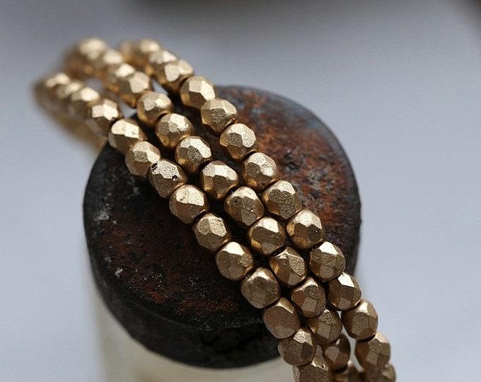 MATTE GOLD BITS 3mm .. New 50 Premium Matte Czech Glass Faceted Round Beads (8789-st)