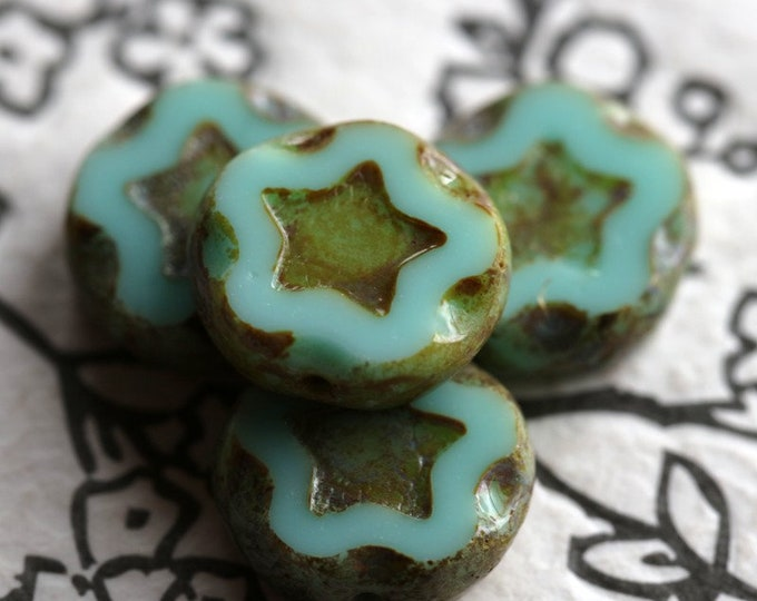 TURQUOISE STARS .. 4 Premium Picasso Czech Glass Star Coin Beads 11mm (7016-4)
