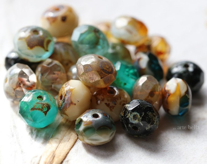 OCEANSIDE .. 25 Premium Picasso Mix Czech Glass Faceted Rondelle Beads 6x8-9mm (4500-st)
