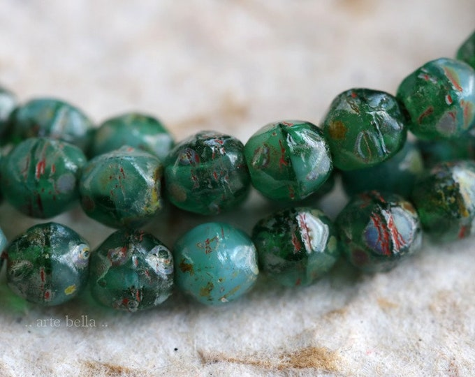 SEASHORE NUGGETS 4mm .. 50 Premium Picasso Czech Glass English Cut Beads (6559-st)