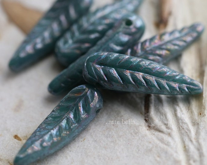 MYSTIC BLUE FEATHERS .. 6 Czech Picasso Bird Feather Beads 5x17mm (6332-6)