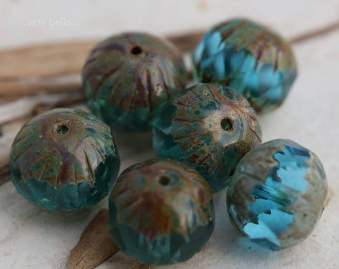 BEACHY CHUBS .. 6 Premium Picasso Glass Czech Bead 11x10mm (6118-6)