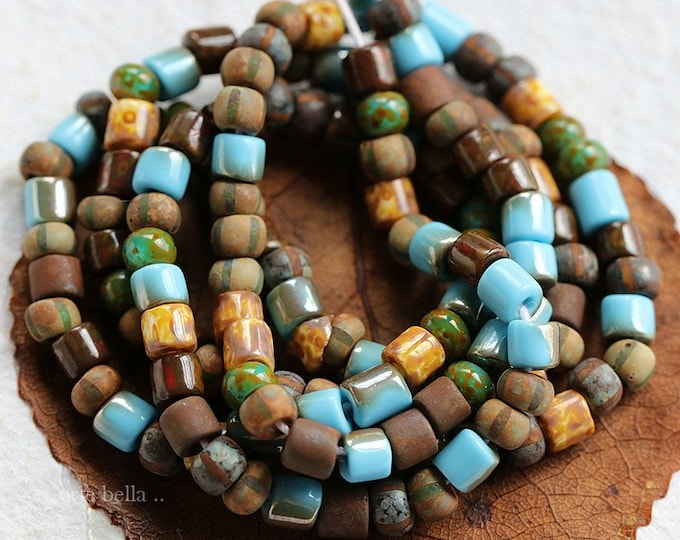 "RUSTIC SKY SEEDS .. 21"" Premium Picasso Czech Glass Striped Aged Seed Tube Bead Mix Size 6/0 (8228-st)"