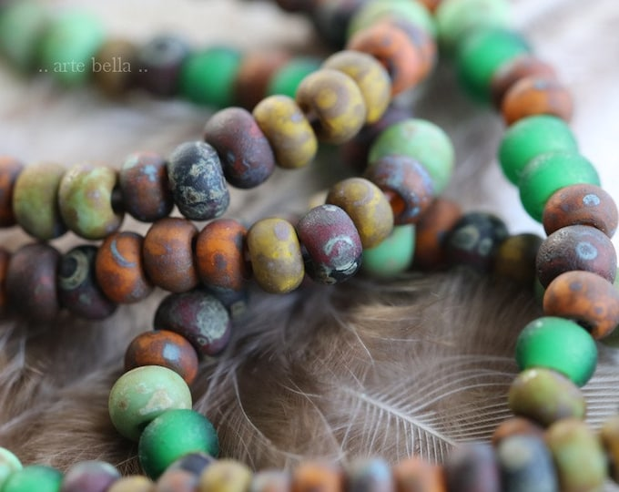 """FOREST SEED MIX No. 7576m .. 20"""" Premium Matte Picasso Czech Glass Aged Seed Bead Mix Size 6/0 (7576m-st)"""