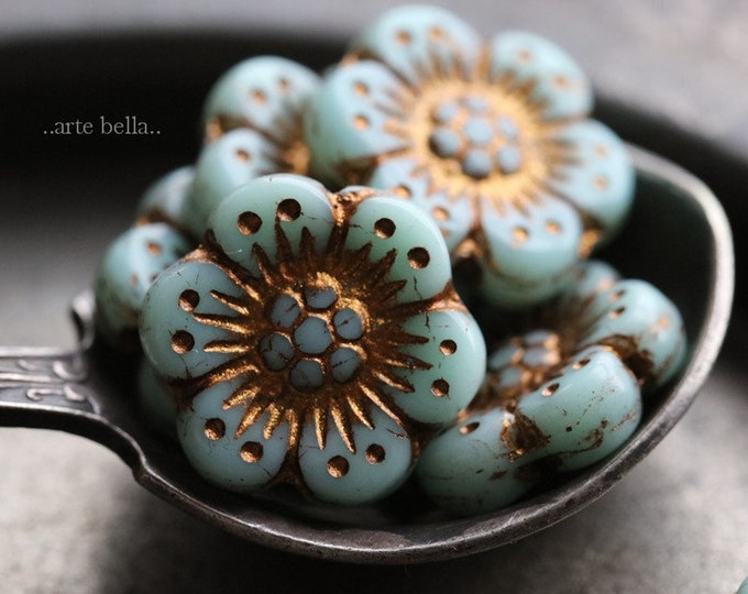 BRONZED MINT ROSES .. New 6 Premium Czech Glass Wild Rose Beads 14mm (6911-6)
