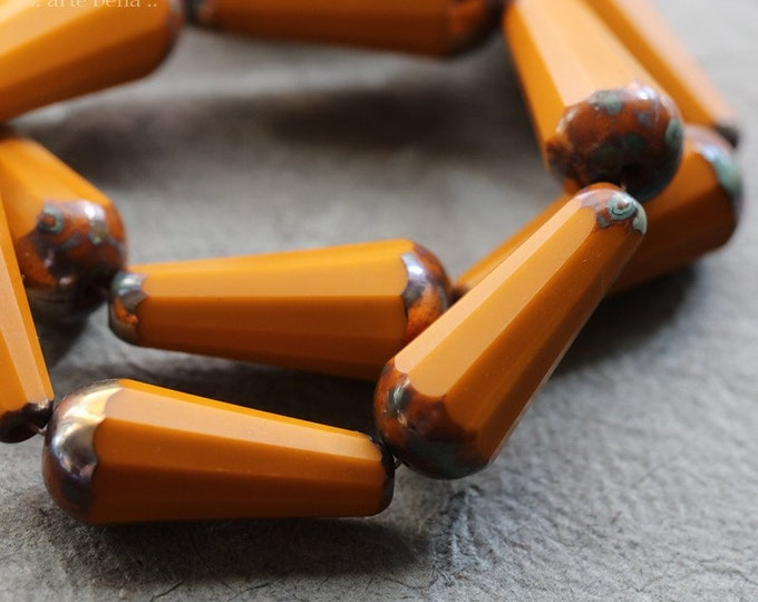 MYSTIC ROASTED CHUBETTES .. 6 Premium Picasso Czech Matte Glass Faceted Drop Beads 20x9mm (8576-6)