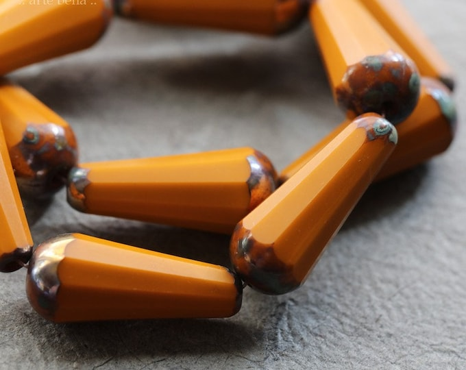 MYSTIC ROASTED CHUBETTES ..New 6 Premium Picasso Czech Matte Glass Faceted Drop Beads 20x9mm (8576-6)