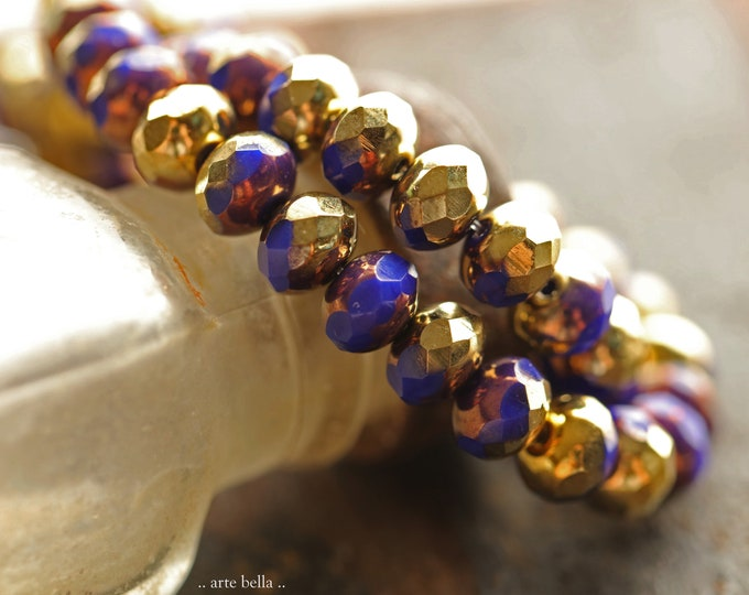 GILDED INDIGO PEBBLES .. New 25 Premium Czech Glass Faceted Rondelle Beads 7x5mm (9066-st)