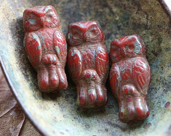 EARTHY RED HOOTS .. New 10 Premium Picasso Czech Glass Owl Beads 15x7mm (8711-10)