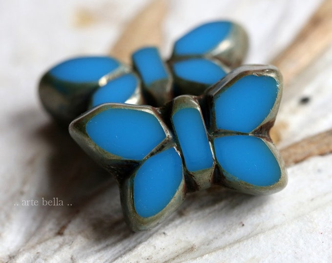 BLUE FLUTTERS .. NEW 2 Premium Picasso Czech Glass Butterfly Beads 19x11mm (8331-2)
