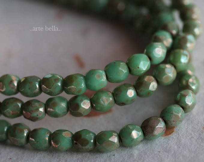 sale .. TURQUOISE MAGIC No. 2 .. 50 Picasso Faceted Czech Glass Beads 4mm (3476-st)
