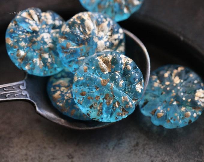 GILDED AQUA DAHLIAS .. 6 Czech Glass Dahlia Flower Beads 14mm (5584-6)