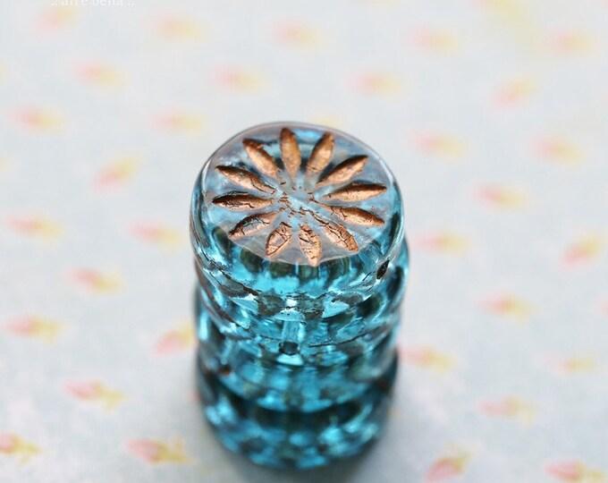 GOLDEN AQUA ASTER .. New 4 Premium Czech Glass Aster Flower Coin Beads 12mm (8676-4)