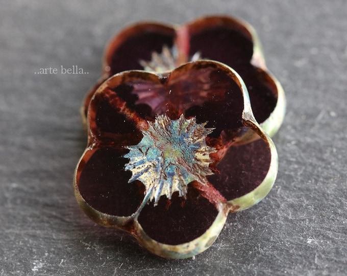 PLUM BLOOMS .. New 2 Premium Picasso Czech Glass Flower Beads 20mm (7611-2)