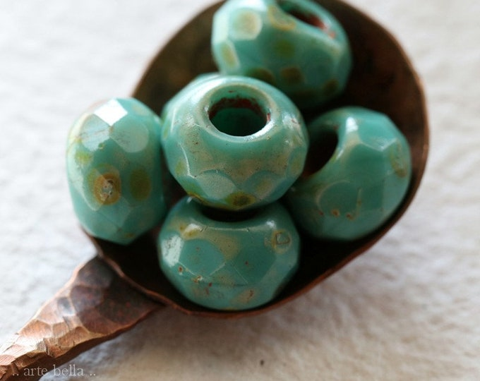 TURQUOISE ROLLER .. 6 Premium Picasso Czech Glass Large Hole Roller Beads 8x12mm (8357-6)