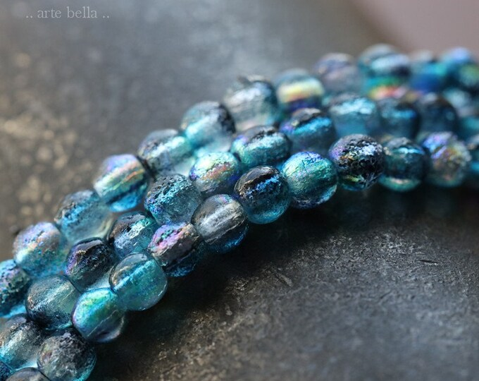 MYSTIC DENIM DRUKS 4mm .. 50 Premium Etched Czech Glass Druk Beads (7694-st)