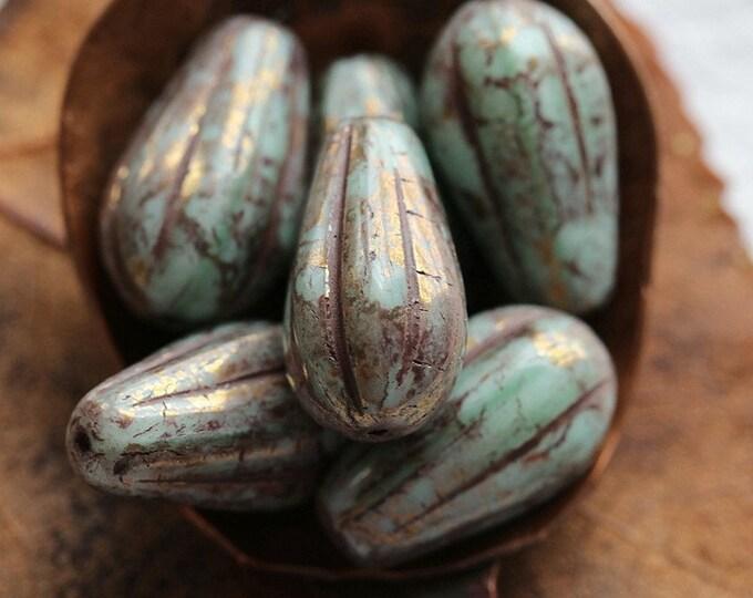 BRONZE PLUM MINT Melon Drops .. 10 Premium Picasso Czech Glass Melon Drop Beads 15x8mm (8286-st)