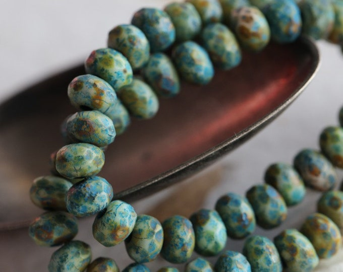 EARTHY BLUE BABIES .. 30 Premium Picasso Czech Glass Etched Rondelle Beads 3x5mm (6884-st)