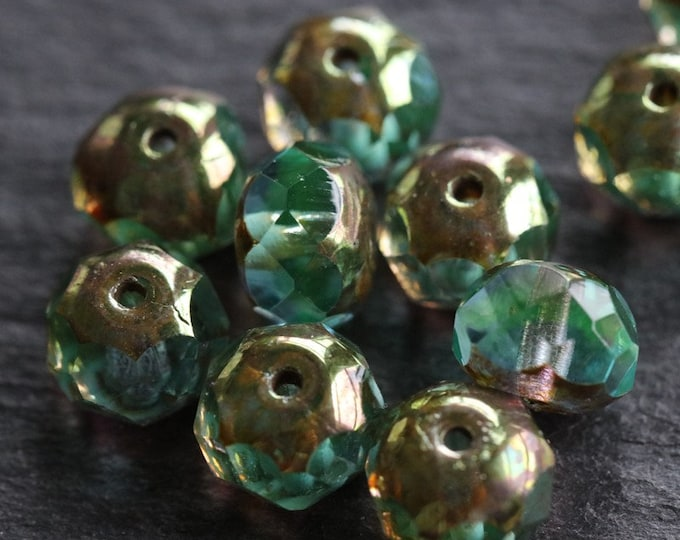 sale .. GOLDEN POND .. 10 Premium Picasso Czech Glass Rondelle Beads 6x8mm (2139-10)
