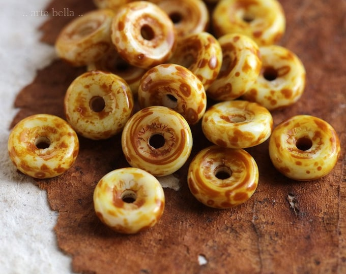 TOASTED CREAM WHEELS .. 20 Premium Picasso Czech Wheel Glass Beads 6mm (6773-20)