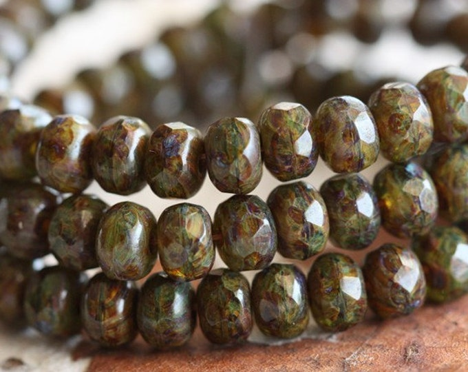 MOSSY PEBBLES No. 2 .. 30 Premium Picasso Czech Glass Rondelle Beads 3x5mm (B55-st)