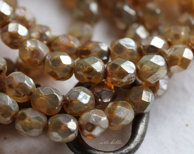 sale .. CASHMERE TOTS .. 25 Picasso Czech Faceted Glass Beads 6mm (3474-st)