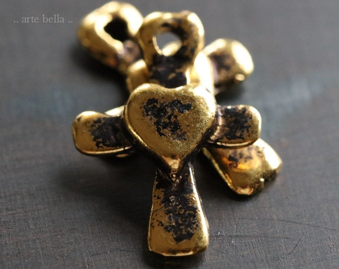 ANTIQUE GOLD HEART Cross .. 2 Mykonos Greek Heart Cross Charm Pendant 21x14mm (M218-2)