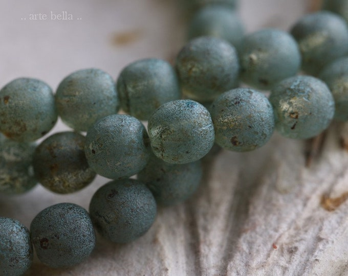 GREEN TEA MIST 6mm .. New 30 Premium Picasso Czech Glass Etched Druk Beads (6975-st)