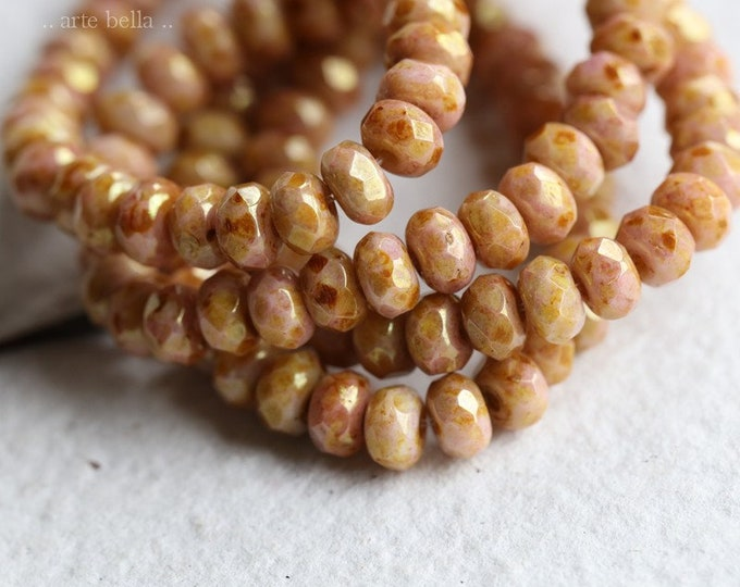 PINK APRICOT BABIES .. 30 Premium Picasso Czech Glass Faceted Rondelle Beads 3x5mm (8266-st)