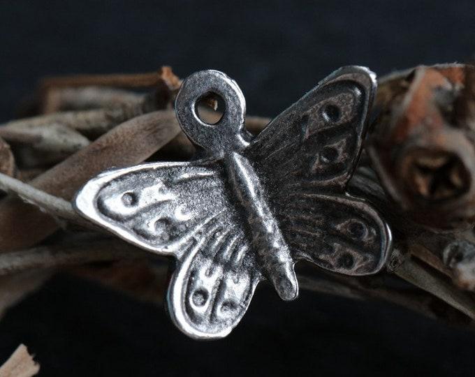 PEWTER BUTTERFLIES .. 2 Mykonos Greek Butterfly Charms 20x14mm (M194-2)
