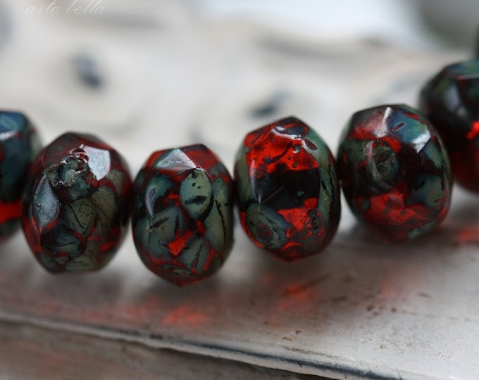 CHERRIES .. 10 Premium Picasso Czech Faceted Rondelle Beads 6x8mm (1912-10)