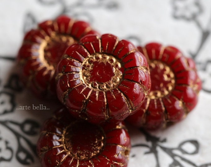 GOLDEN SCARLET SUNFLOWERS .. New 4 Premium Picasso Czech Glass Flower Beads 13mm (7028-4)