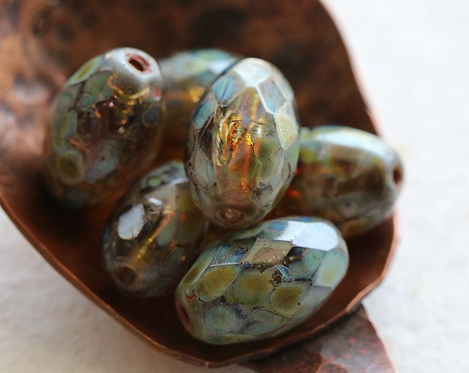 MOSSY AMBER OLIVES .. New 6 Premium Picasso Czech Glass Faceted Oval Beads 12x8mm (8351-6)