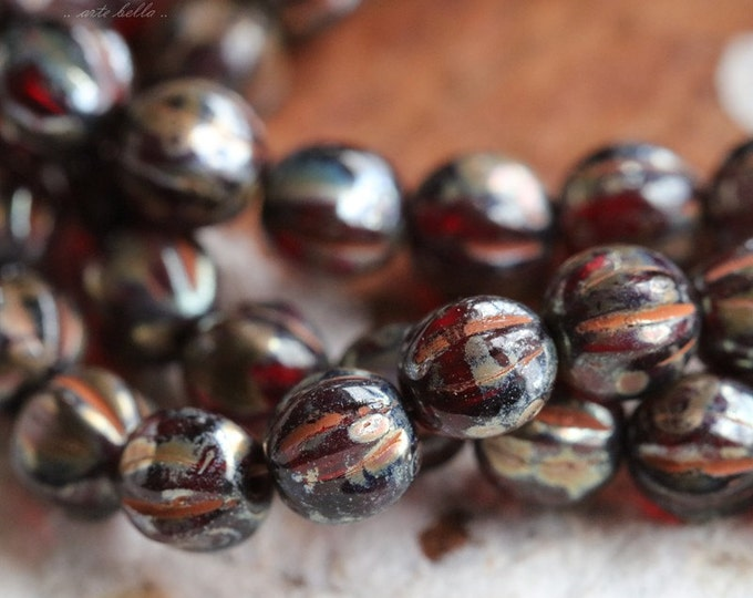 MERCURY RED MELONS .. 25 Picasso Czech Melon Beads 6mm (5441-st)